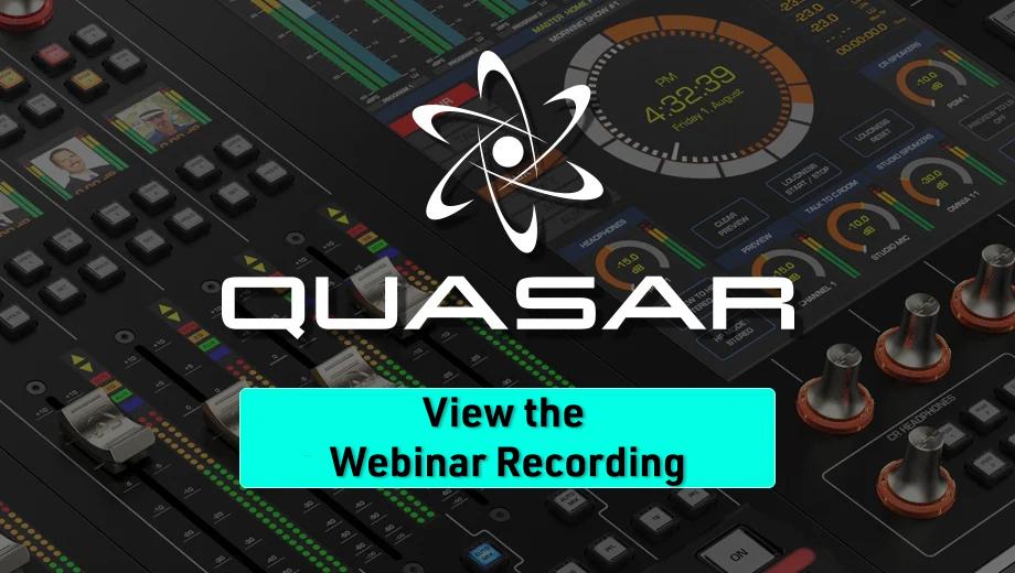 Quasar view the webinar button